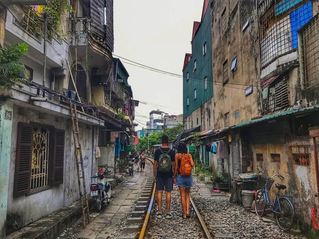 La ferrovia nel centro di Hanoi