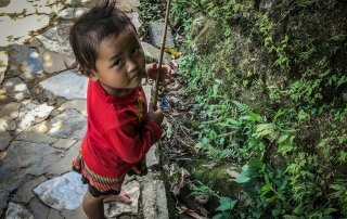 Un bambina con la cresta guarda l'obiettivo della macchina fotografica