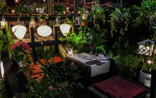 la terrazza del ristorante Cyclo's Road a Hoi An piena di piante e lanterne