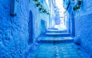 Scalini di Chefchaouen la città blu del Marocco