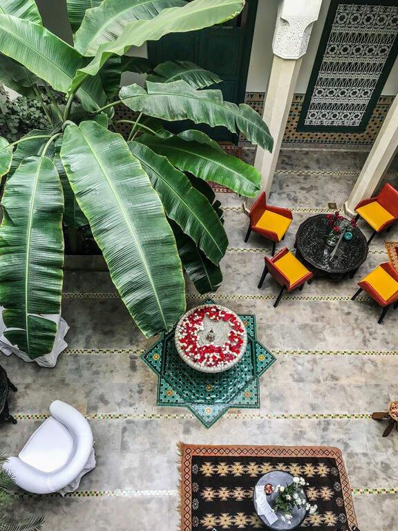 Cortile di un Riad fotografato dal balcone