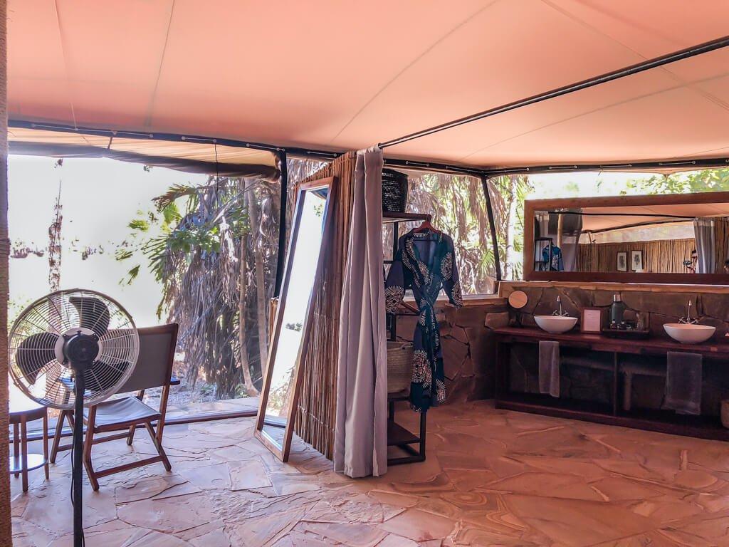 Vista del bagno nel nostro alloggio in Roho ya Selous di Asilia Africa